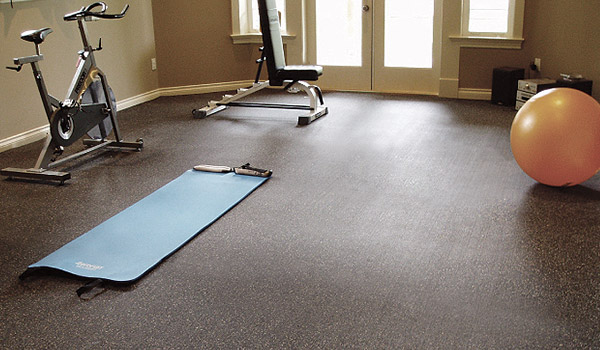 Floor mats for home gym covering carpet tile